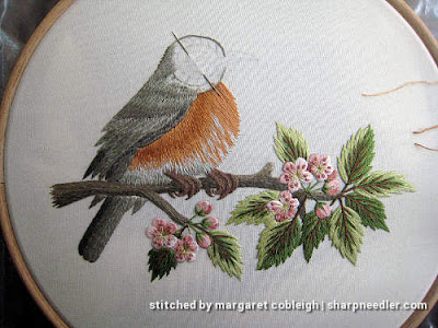 Robin on Blossom Branch (by Tanja Berlin): Thread painted bird completed except for the head
