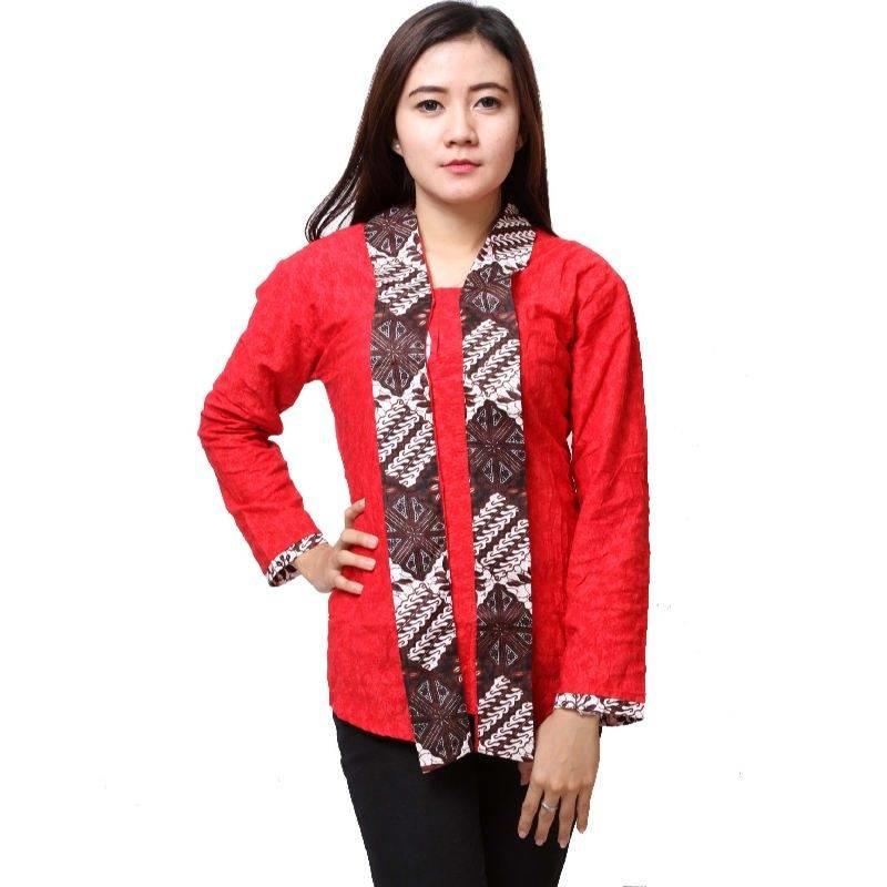 Gambar Batik Kerja 2017: 12 Model Baju Batik Wanita Kombinasi 2017 Yang Mempesona
