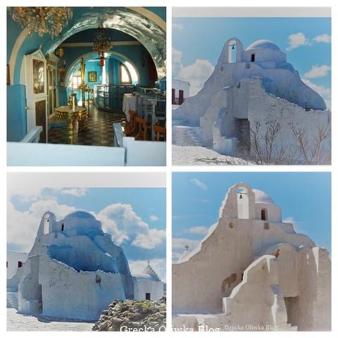 Trzy białe cerkwie na tle zimowego greckiego nieba, wnętrze świątyni, niebieskie ściany, święte ikony. Mykonos Grecja Cyklady.