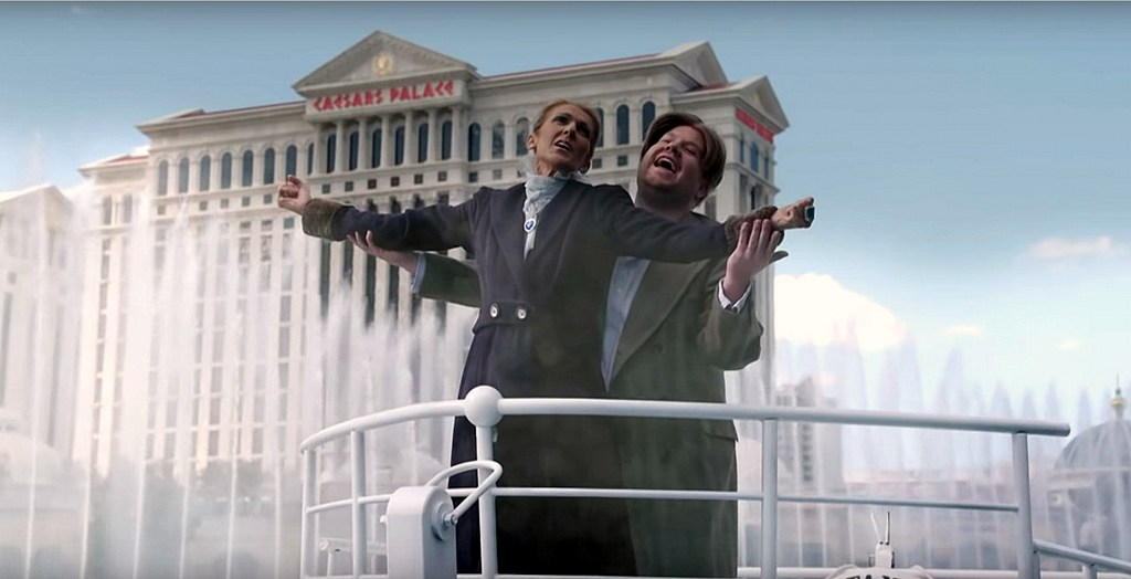 Celine Dion and James Corden recreate the Titanic in the Bellagio Fountain of Las Vegas for karaoke in shared cars.