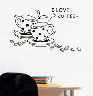 Autocolant perete model cesti de cafea cumpara aici