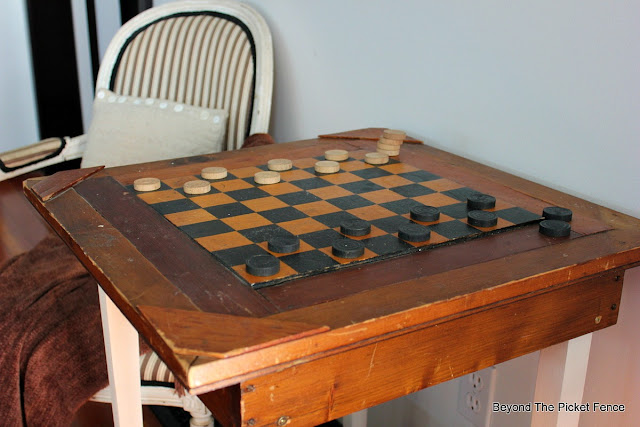 game table, antique table, checkers, http://bec4-beyondthepicketfence.blogspot.com/2016/02/checkers-table.html