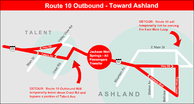 Map showing temporary change to Rogue Valley Transit's Route 10 outbound from Medford toward Ashland, Oregon