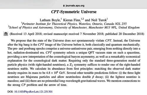 CPT-Symmetric Universe (Source: Physics Review Letters)