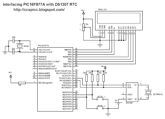 Interfacing PIC16F877A microcontroller with DS1307 real time clock RTC circuit CCS PIC C