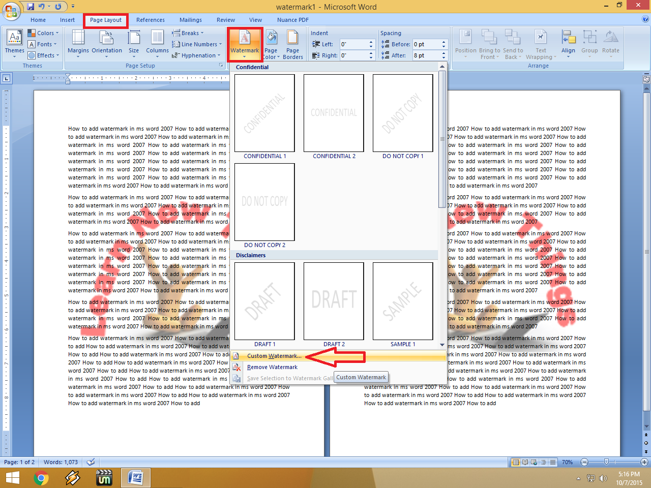 Learn New Things: How to Insert Watermark in MS Word