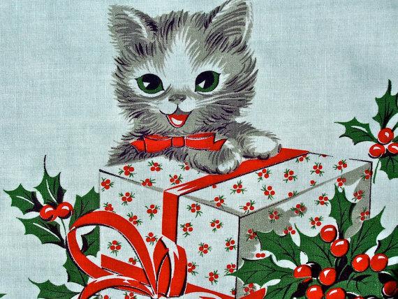 Fuzzy Kittens Craft Vintage Cat Fabric