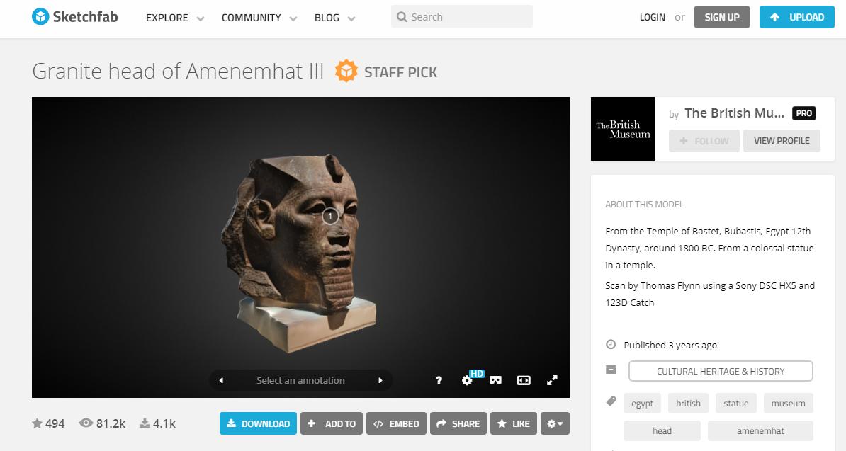 免費下載大英博物館歷史文物 3D 模型列印,包含復活節島石像