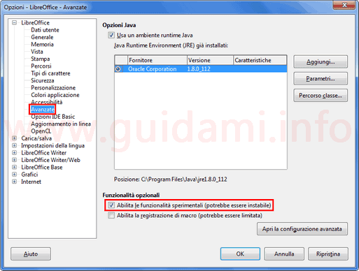 Impostazioni LibreOffice attivare impostazioni avanzate