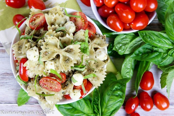 4 Ingredient Caprese Pasta Salad #vegan #vegetarian #soup #breakfast #lunch