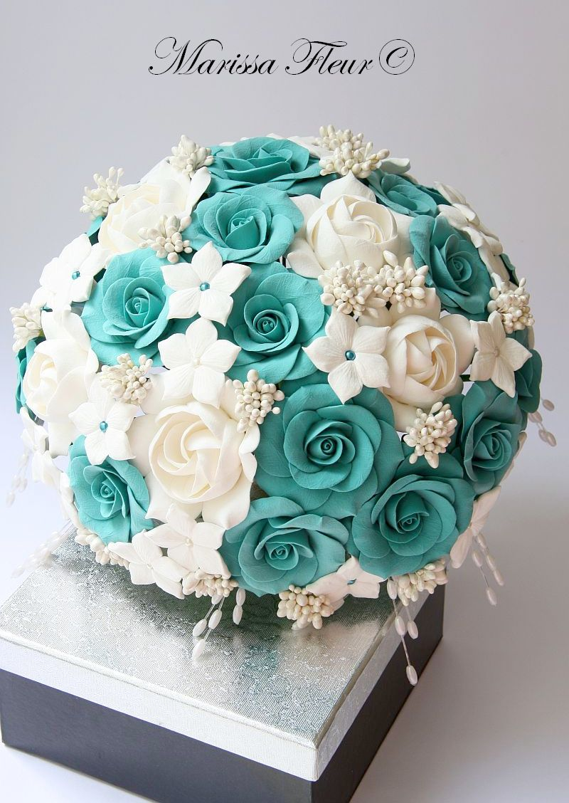 A Touch Of Beauty...: Turquoise Bridal Bouquet With Roses ...