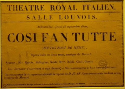 Affiche de Cosi fan Tutte 1820 Paris