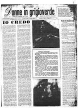 """La prima pagina del primo numero di """"Donne in grigioverde"""
