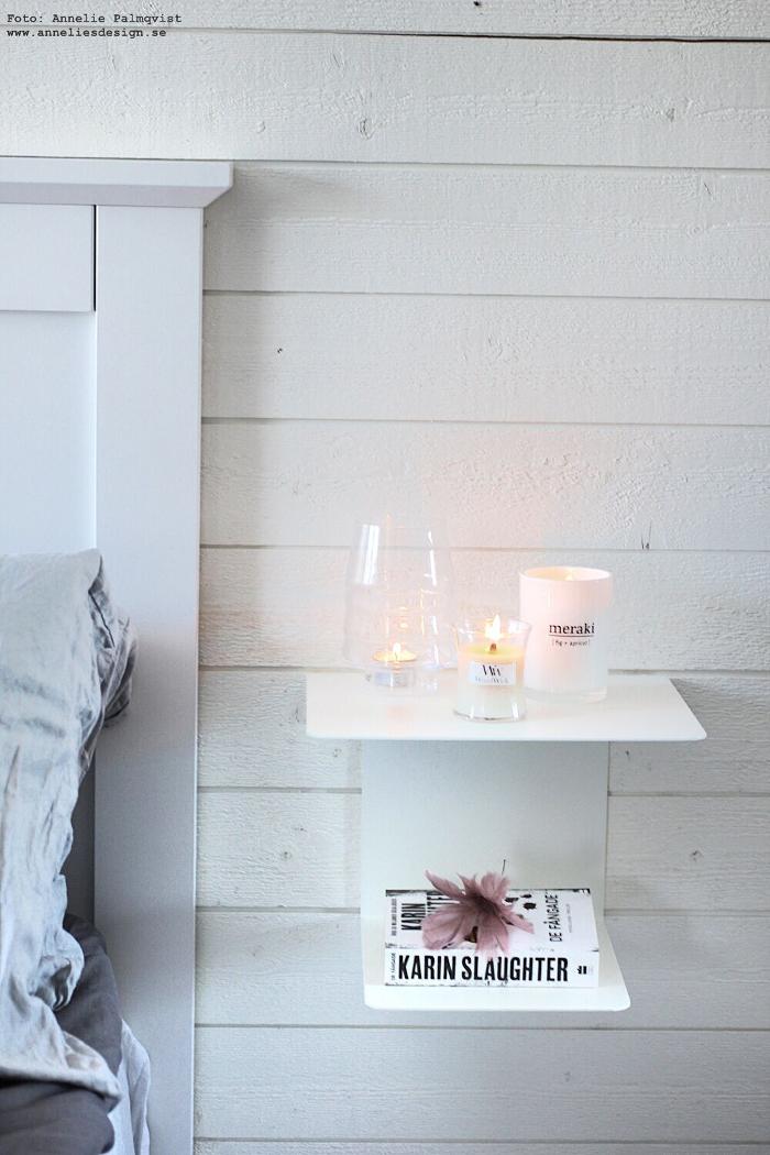 annelies design, ljus, stearinljus, meraki, woodwick, doftljus, giftfritt, giftfria, sängbord, sovrum, fjäderblomma,