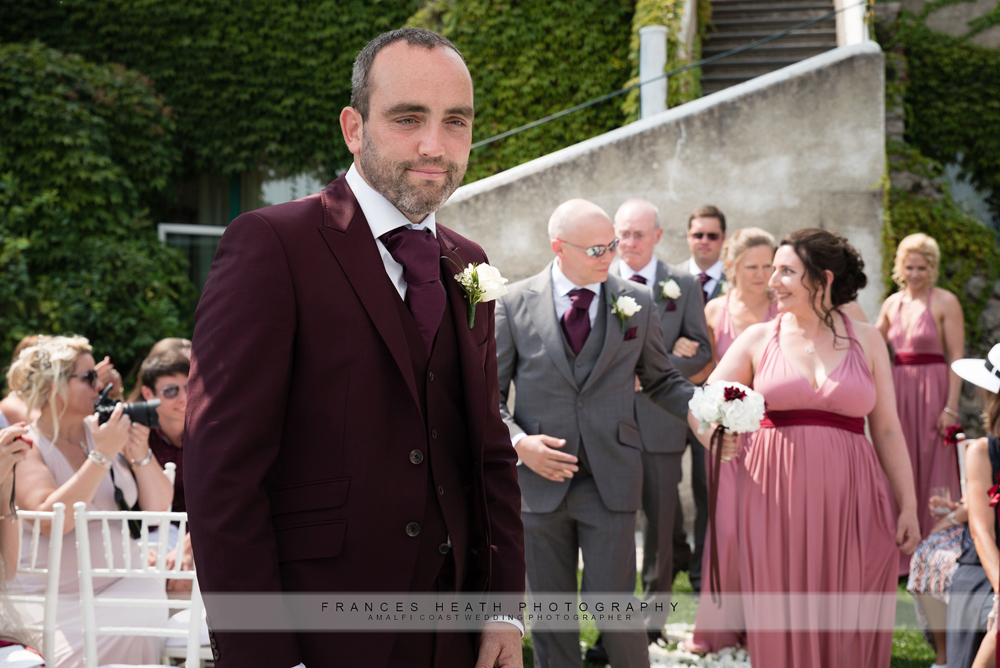 Groom at protestant wedding ceremony