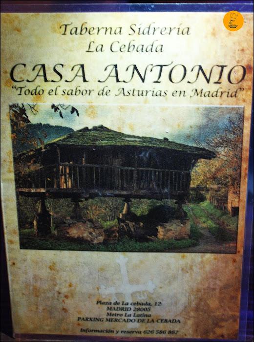 Carta Taberna Sidrería La Cebada Casa Antonio