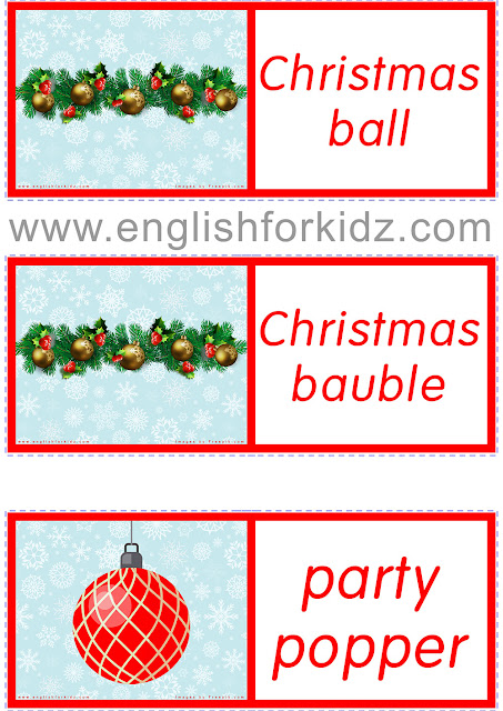 Printable Christmas dominoes for ESL students