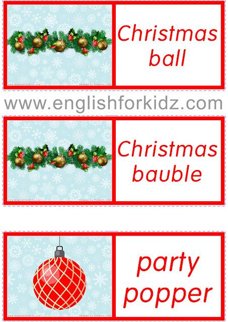 Printable Christmas dominoes for ESL students