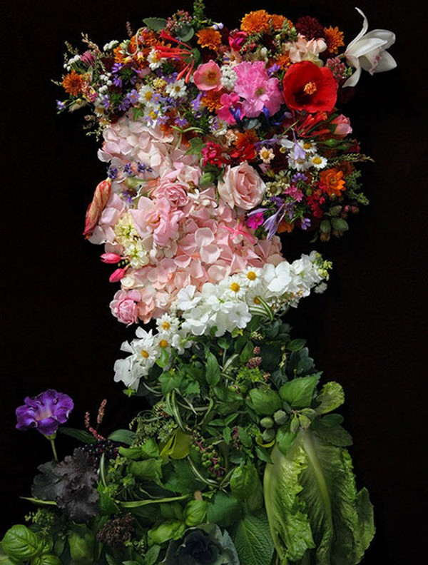 Портреты из фруктов и цветов 2