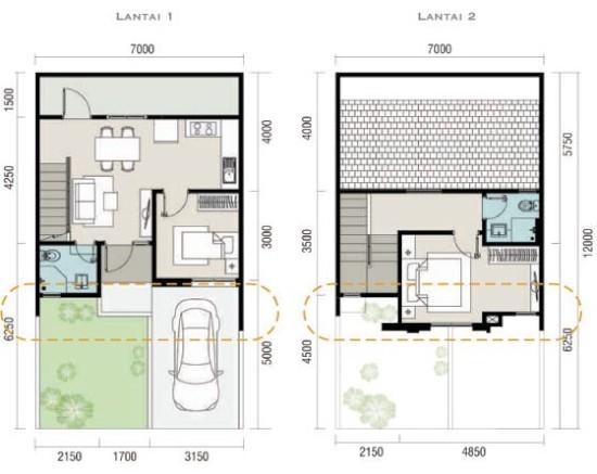 Denah rumah minimalis ukuran 7x12 meter 2 kamar tidur 2 lantai