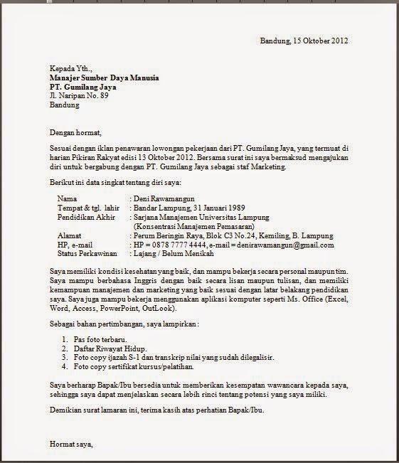 Contoh CV atau Daftar Riwayat Hidup Lamaran Kerja Bahasa ...