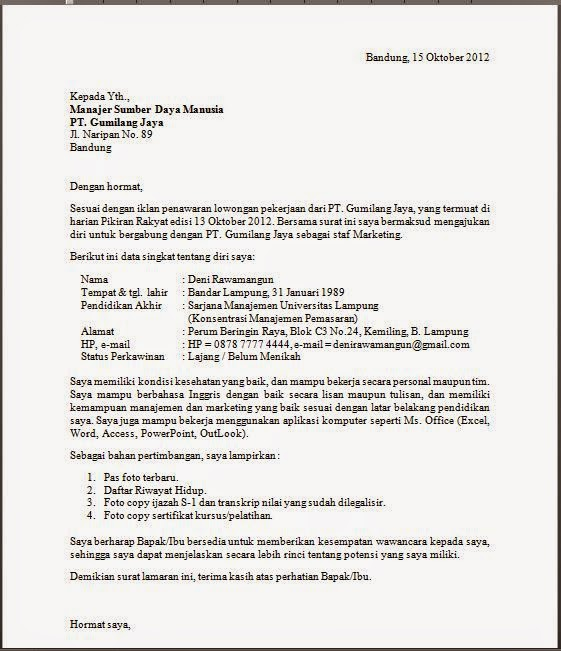 Format Cv Lamaran Kerja Resume Format Examples