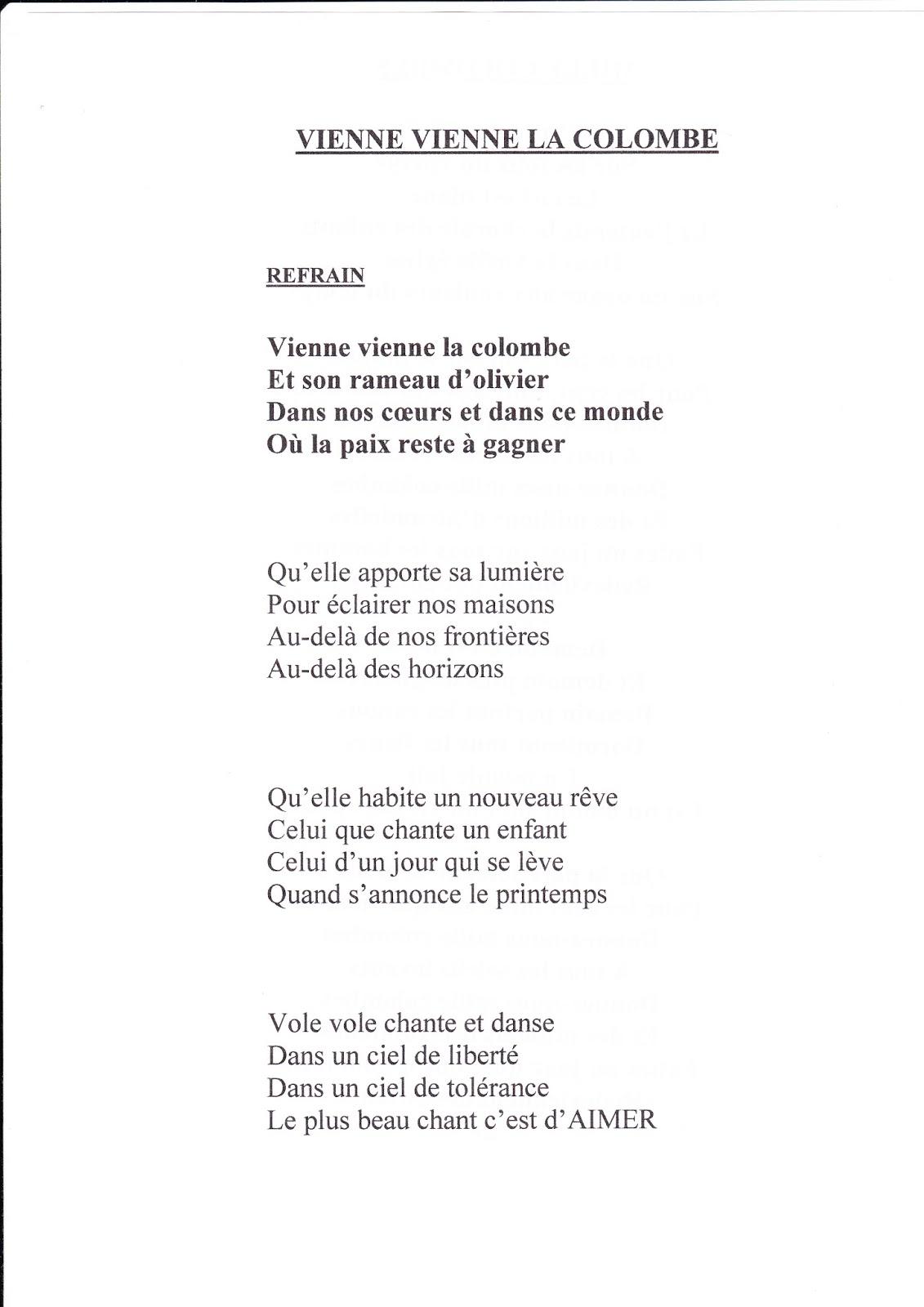 Chorale Rayon de Soleil: Paroles des chansons