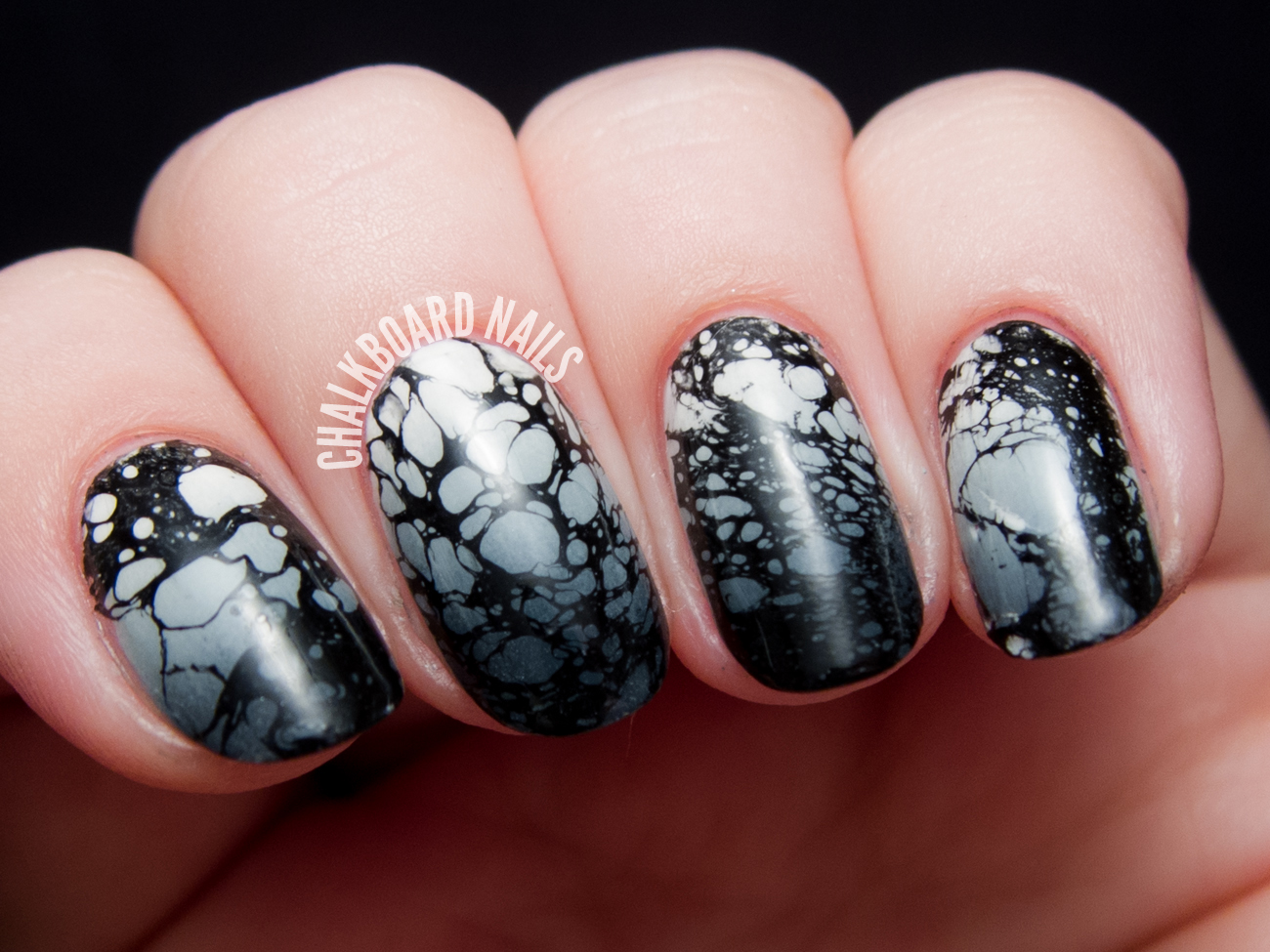 Tattered Monochromatic Spray Marble by @chalkboardnails