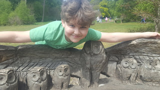 Dan Jon jr and the Carved Owl Bench at Wendover Woods