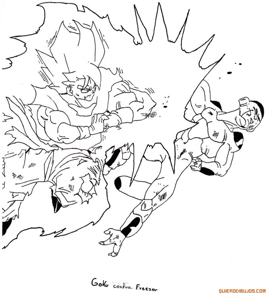 Goku Vs Golden Freezer Para Colorear Dragon Ball Z Goku Vs Freezer
