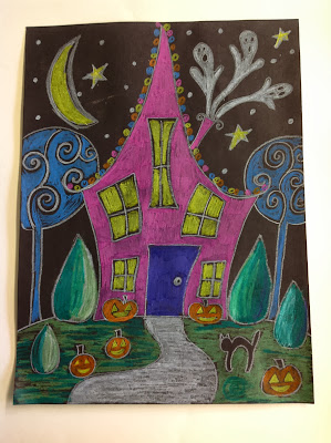 art sub lesson with halloween house