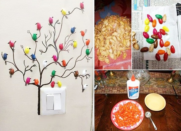 manualidades frutos frescos, pistachos manualidades