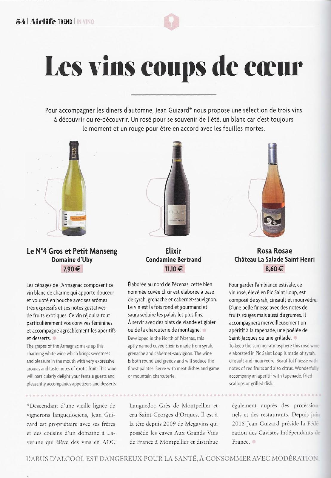 Aux grands vins de france le magazine airlife parle des vins coup de coeur du caviste - Coup de coeur air france ...