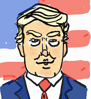 cartoon of President Donald Trump in front of an America flag.