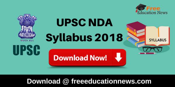 UPSC NDA Syllabus 2018
