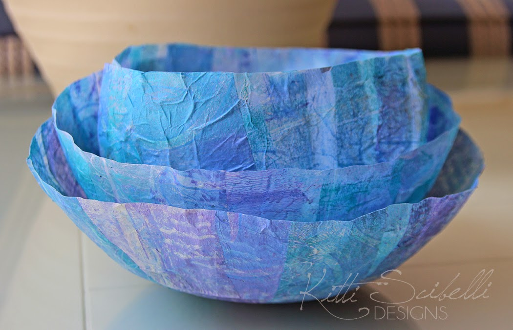 Blue painted tissue paper bowls