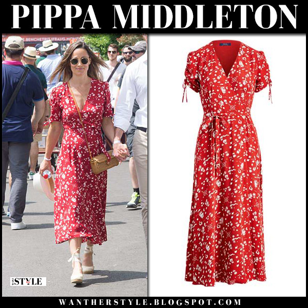 Pippa Middleton in red floral print midi dress and wedges royal family fashion may 27