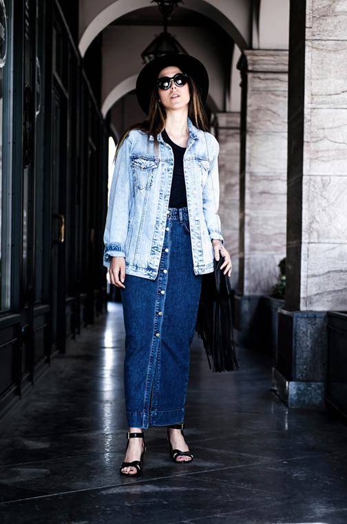 denim maxi skirt, long denim skirt, denim skirts, denim mini skirt, vintage levis denim mini, levis 501 , spring 2016 denim trends, street style, patchwork denim, patchwork skirt,