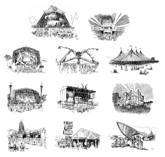 11 black and whites sketches I created for a wedding