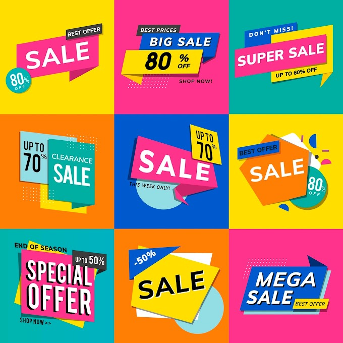 Shop sale promotion advertisements vector set free vector download by vectorkh