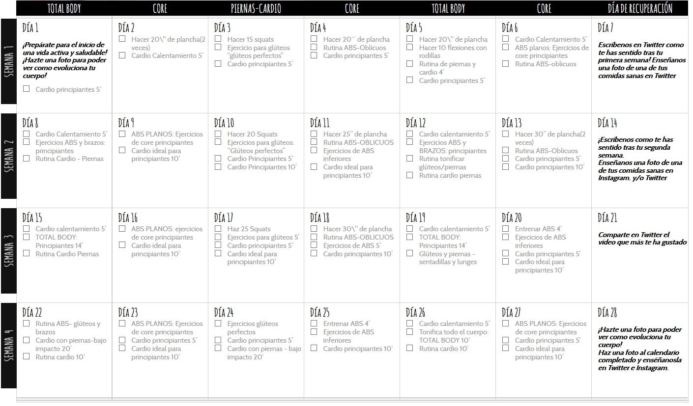Calendario Septiembre Gymvirtual.Calendario Principiantes