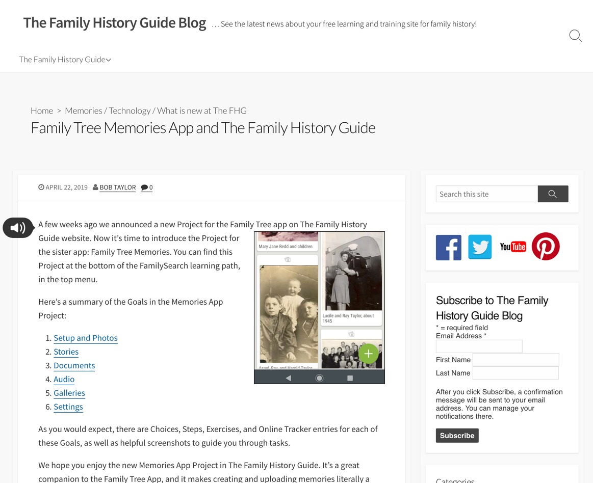 Rejoice, and be exceeding glad   : The Family History Guide adds the