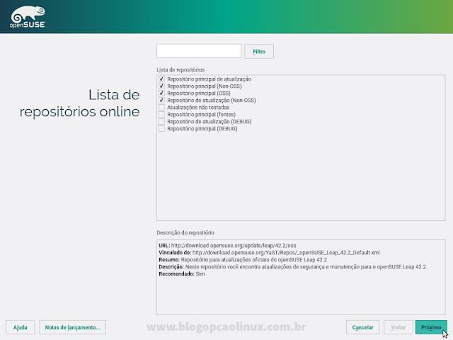 Tela apresentando os repositórios a serem adicionados durante a instalação do openSUSE