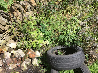 Make use of old tyres as Hugel bed