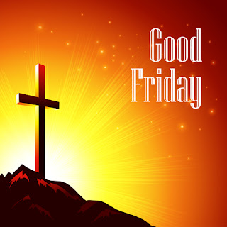Clipart image of a Good Friday background with a silhouetted cross on a hill