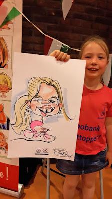 karikatuur tekening van model meisje met staart