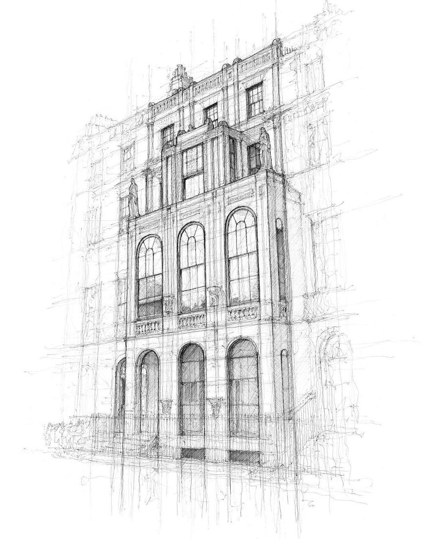 04-Sir-John-Soane-s-Museum-London-Luke-Adam-Hawker-Architectural-Illustration-of-Imposing-Buildings-www-designstack-co