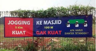Jogging 5 KM kuat ke Masjid 100 M gak kuat apa harus dianter tetangga