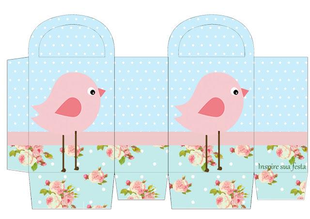 Caja Lunch para imprimir gratis de Pajarito Rosa en Fondo Shabby Chic.