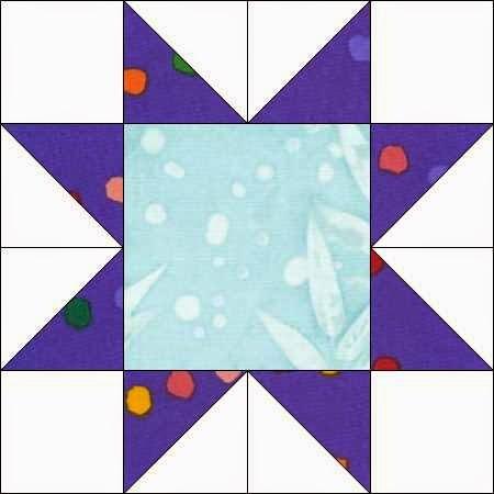 patchworkblok met ster waarin driehoeken gecombineerd worden met vierkantjes